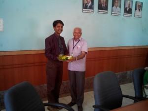 Felicitation by Shri R D Shanbhag, Chairman SKE Society, Belgaum